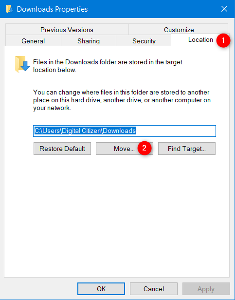 How to change the location of the Downloads folder in Windows 10