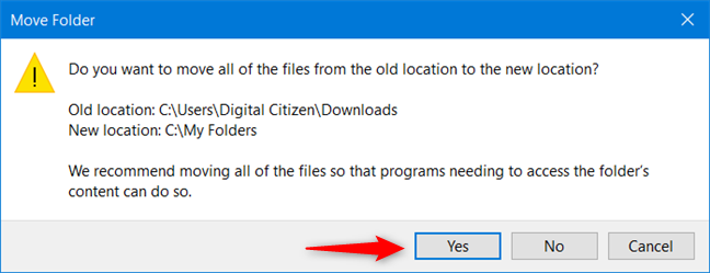 Move all the files from the user folder to the new location