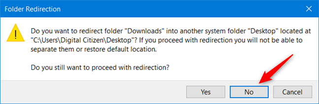 Don't move a user folder into another user folder!