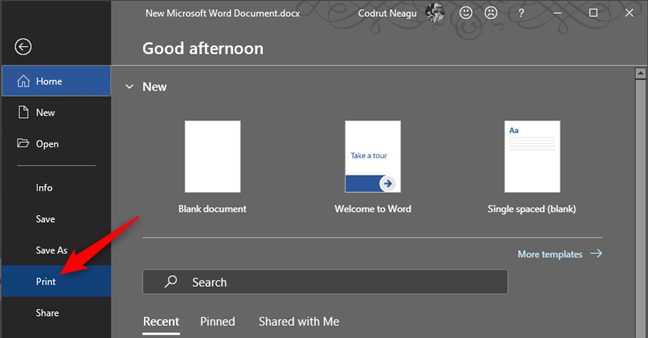 The Print option from Microsoft Word