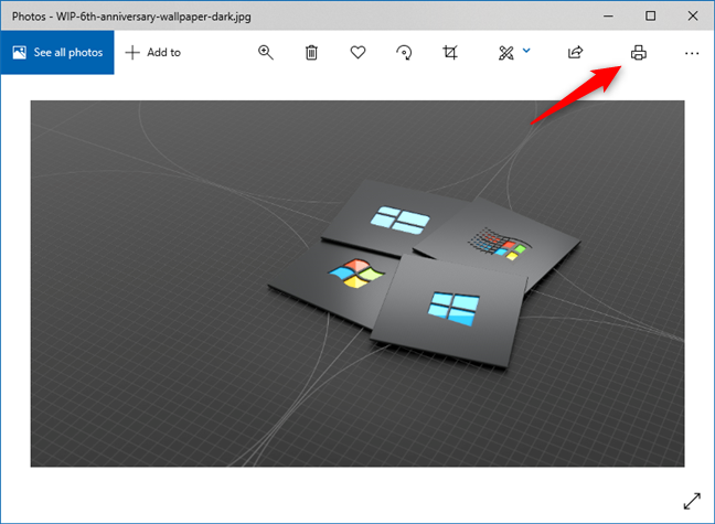 The Print button from Windows 10's Photos app