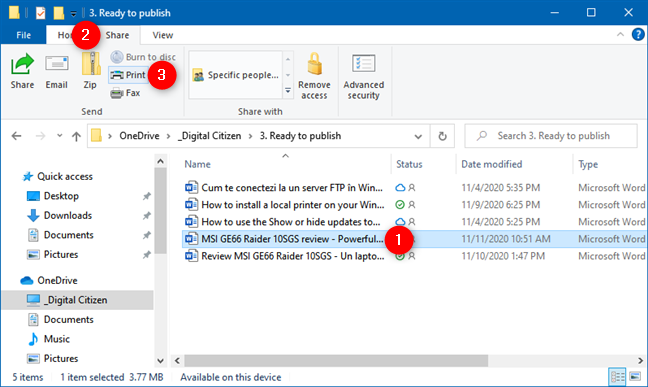 How to print on Windows 10: File Explorer's Print option from the Home tab