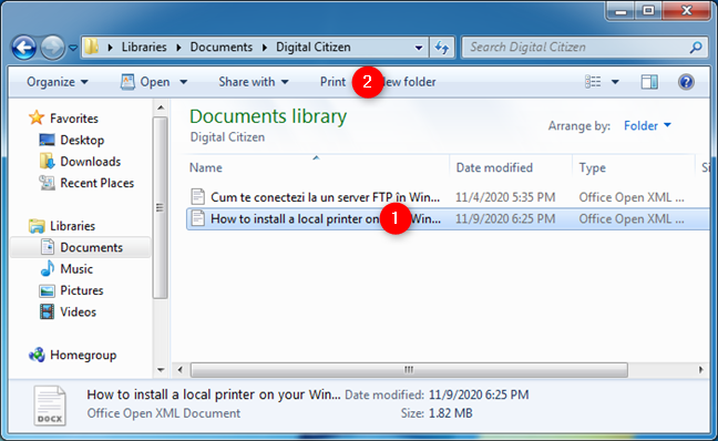How to print from Windows 7: The Print option from Windows Explorer