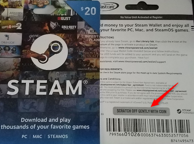 Scratch the code from your Steam gift card