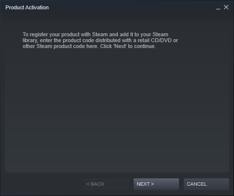 The Steam Product Activation wizard