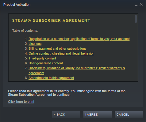 Accept the Steam subscriber agreement