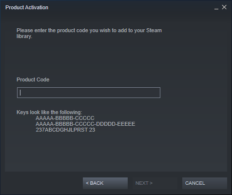 Enter the Steam product code for your game