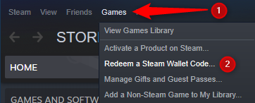 Go to Games, followed by Redeem a Steam wallet code