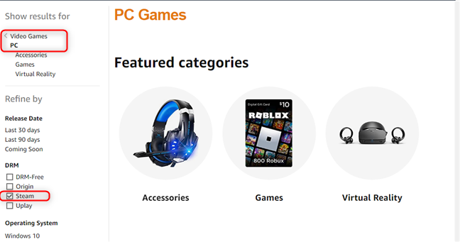 PC Games on Amazon can be filtered using Steam as the DRM