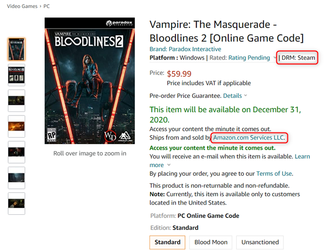 Vampire: The Masquerade - Bloodlines 2 - Steam version