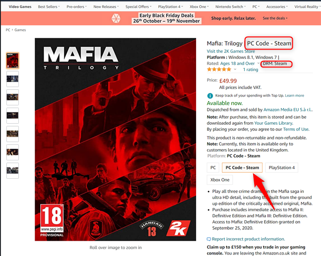 Mafia: Trilogy - Steam version