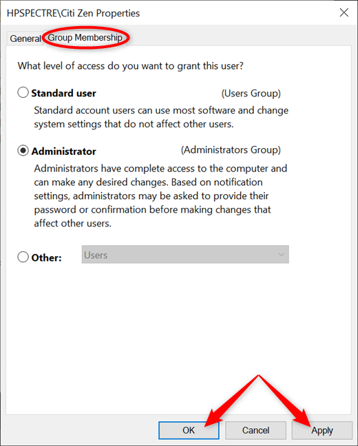 Choose between Standard user and Administrator and Apply your changes