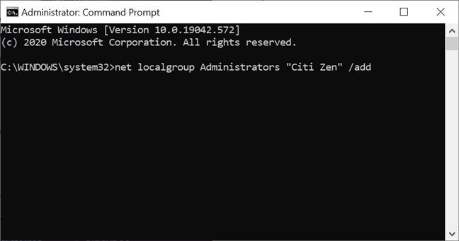 Use CMD to promote an account to Administrator