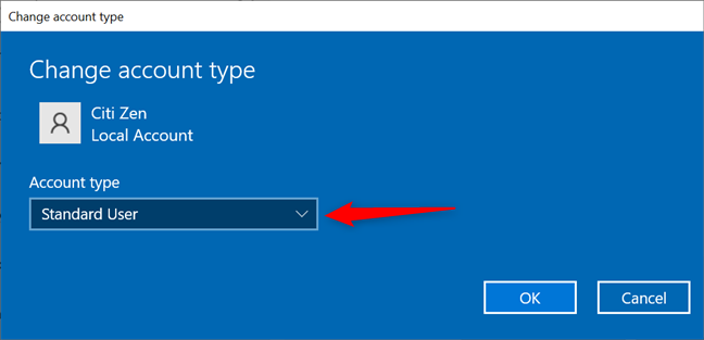 Pressing the Account type field opens a dropdown menu