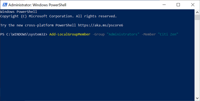 Promote an account to Administrator with PowerShell