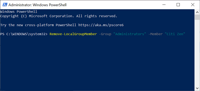 Return an Administrator back to Standard with PowerShell