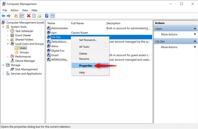 Press Properties from a user's right-click menu