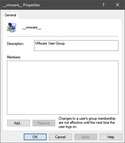 __vmware__ user group in Windows 10