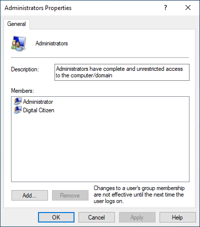Administrators group in Windows 10