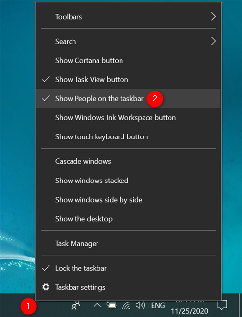 In Windows 10, remove the People icon using the taskbar's contextual menu