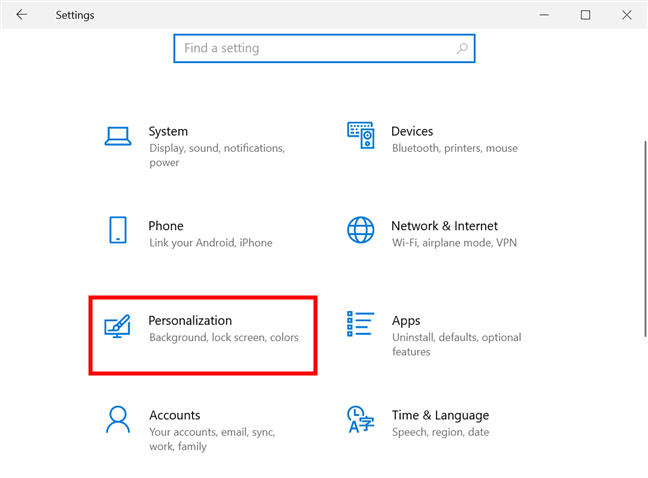 Access the Personalization Settings