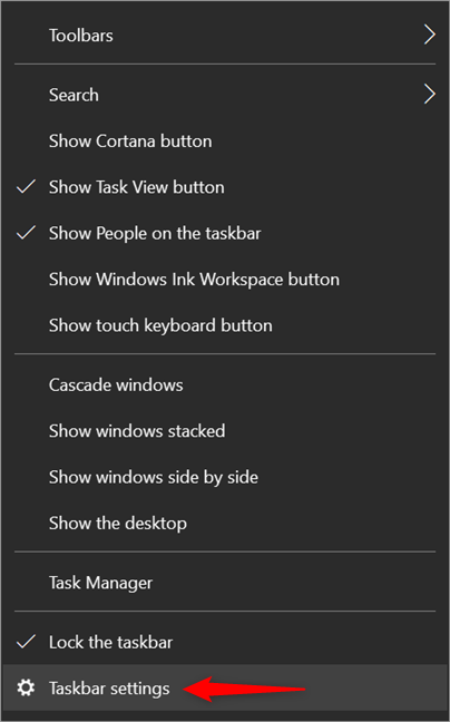 Access Taskbar settings from the taskbar's contextual menu, discussed in the previous chapter