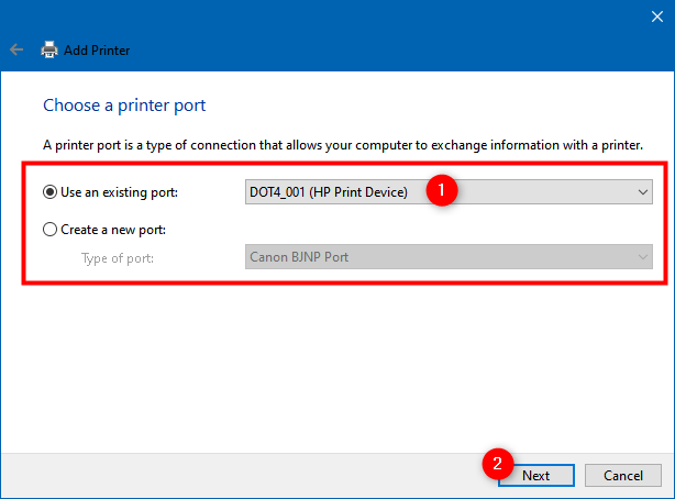 Use an existing port or Create a new port