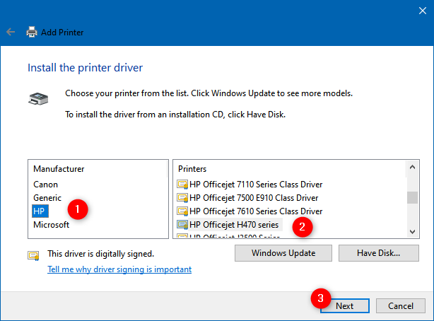 Install the printer driver from a list