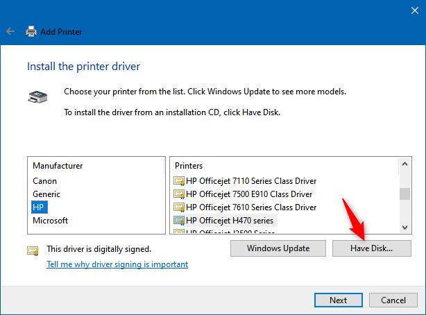 Install the printer driver by manually selecting the driver's location