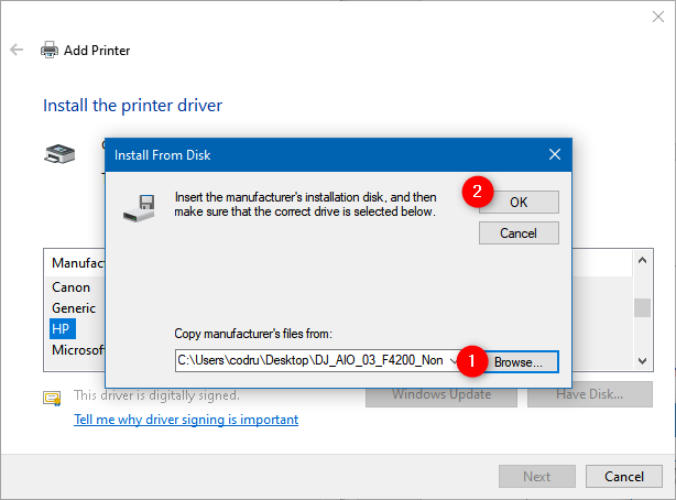 Choosing the location of the printer driver