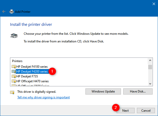 Selecting the printer driver to install
