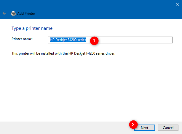 Entering a name for the manually added printer