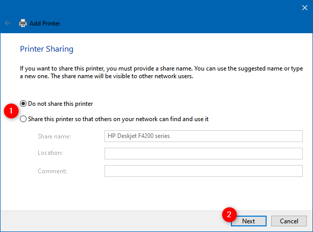 Choosing whether to share the local printer with the local network