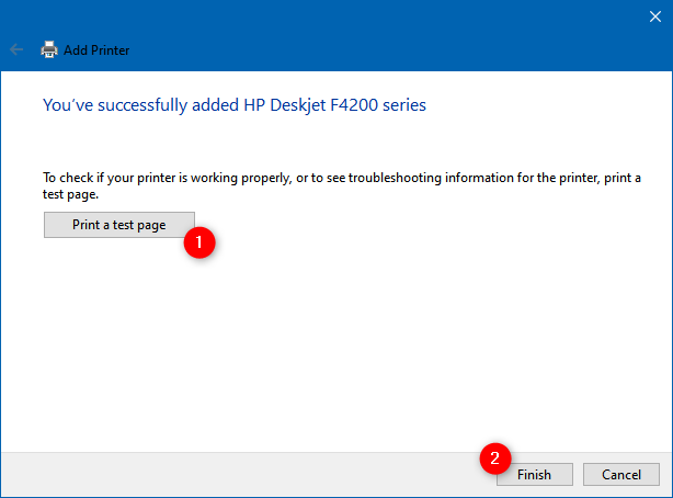 The printer has been manually installed in Windows 10