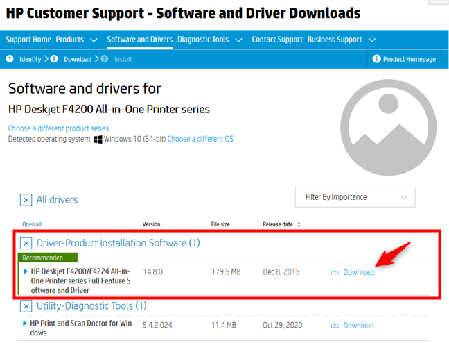 The driver package download link for an HP printer