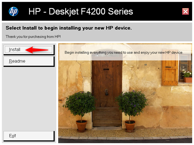 The installation wizard for an HP printer