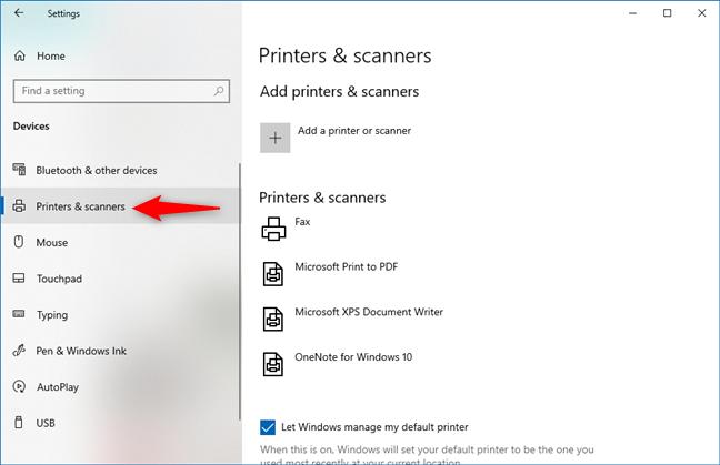 Printers & scanners in Windows 10 Settings