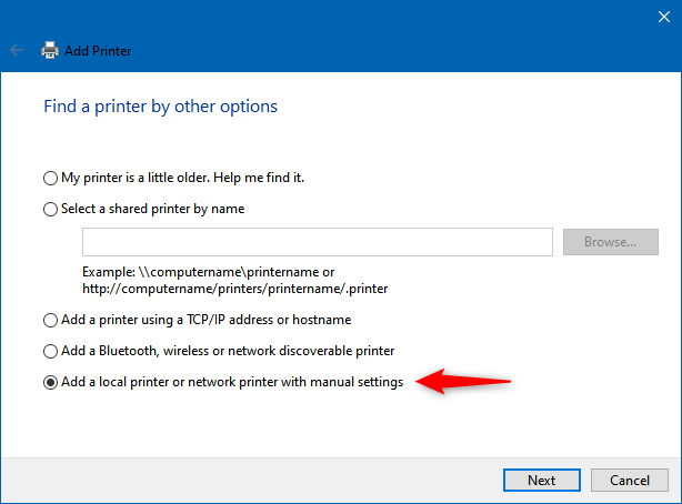 Add a local printer or network printer with manual settings