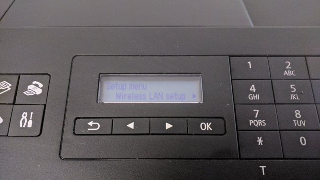 Accessing the Wireless LAN setup menu on a Wi-Fi printer