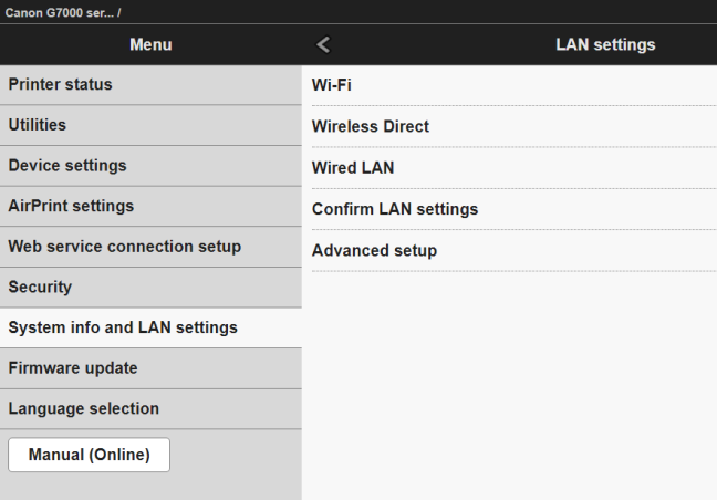 The web based configuration interface of a wireless printer