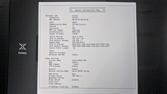 The Network Configuration Page shows the connection details for a wireless printer