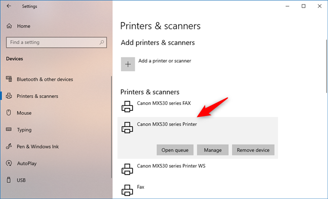 A wireless printer installed from Windows 10's Settings