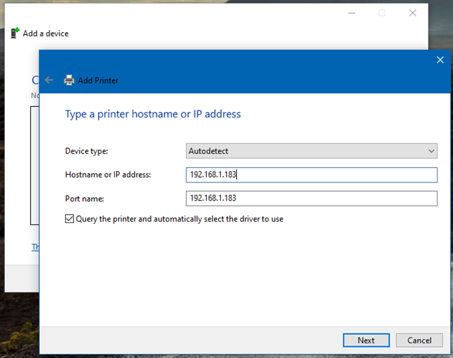 Adding a wireless printer from Control Panel using an IP address