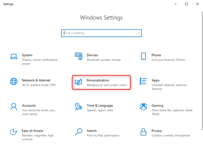 In the Windows 10 Settings, access Personalization