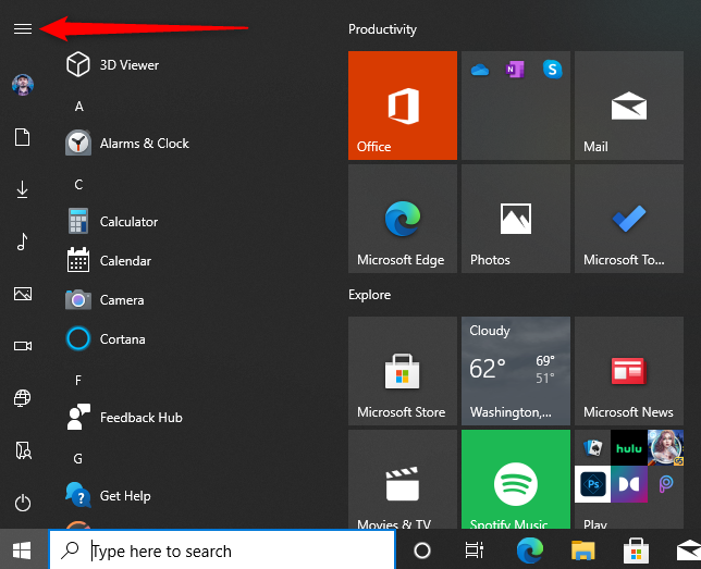 Extend the Windows 10 Start Menu to see the folder names