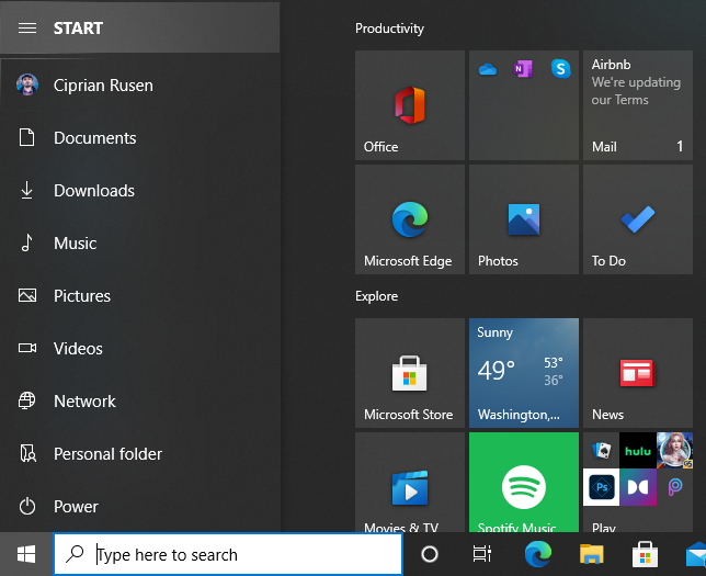 The Start Menu displays the names of all folders