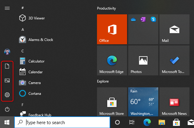 The default folders on the Windows 10 Start Menu