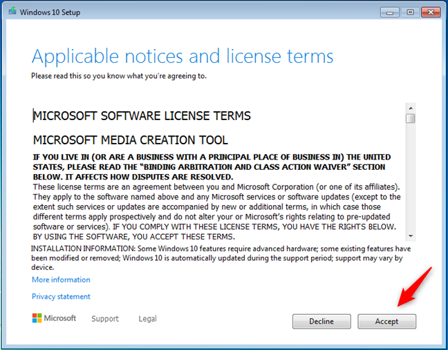 License terms for Windows 10