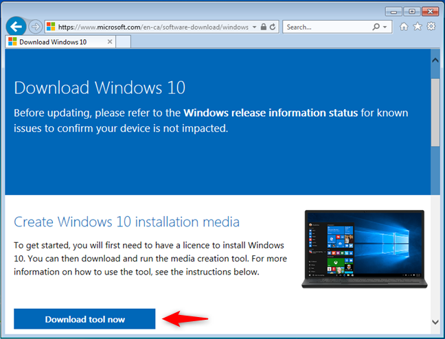 Download Media Creation Tool from Microsoft