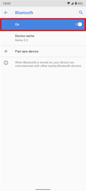 How to turn on Bluetooth from Settings